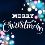 Ακτινοβολώντας σχέδιο εγγραφής Χαρούμενα Χριστούγεννας επίσης corel σύρετε το διάνυσμα απεικόνισης Στοκ Φωτογραφίες