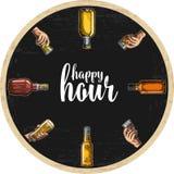 Ακτοφύλακας για τα ποτά οινοπνεύματος με το γυαλί εκμετάλλευσης μπουκαλιών και χεριών με την μπύρα, ουίσκυ, tequila, ρούμι ελεύθερη απεικόνιση δικαιώματος