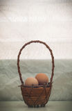 Ακόμα αυγό ζωής στο καλάθι ινδικού καλάμου στην ημέρα θέρμανσης Στοκ εικόνες με δικαίωμα ελεύθερης χρήσης