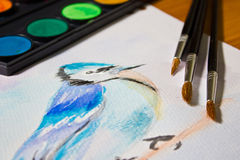 Ακόμα ζωή με ένα σύνολο ζωγραφικής watercolor Στοκ Φωτογραφίες
