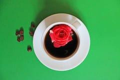 Ακόμα ζωή με ένα φλιτζάνι του καφέ με ένα λουλούδι στοκ εικόνα