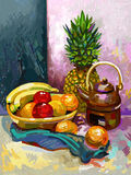 Ακόμα ζωή με μια μπανάνα, ένα δαμάσκηνο, έναν ανανά και ένα τσάι Στοκ εικόνα με δικαίωμα ελεύθερης χρήσης