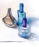 ακόμα ζωή με τα μπουκάλια αρώματος, watercolor Στοκ Φωτογραφίες
