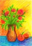 Ακόμα ζωή με τα λουλούδια και τα μήλα στοκ εικόνα