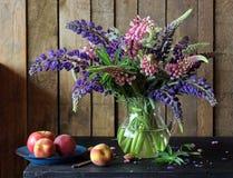 Ακόμα ζωή με τα λούπινα και τα φρούτα σε ένα αγροτικό ύφος Στοκ Εικόνες