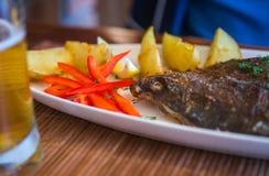 Ακόμα ζωή με τα ψάρια, τα λαχανικά και τα χορτάρια Στοκ φωτογραφία με δικαίωμα ελεύθερης χρήσης