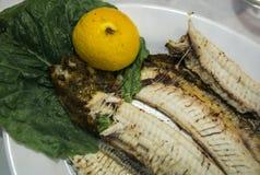 Ακόμα ζωή με τα ψάρια, τα λαχανικά και τα χορτάρια Στοκ εικόνα με δικαίωμα ελεύθερης χρήσης