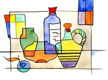 Ακόμα ζωή με την κανάτα, το μπουκάλι, και το βάζο Ελεύθερη απεικόνιση δικαιώματος
