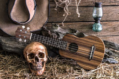 Ακόμα ζωή με το ανθρώπινο κρανίο και ukulele στο υπόβαθρο σιταποθηκών Στοκ Φωτογραφίες