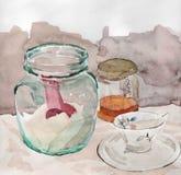 Ακόμα ζωή με το βάζο και το φλυτζάνι Στοκ φωτογραφία με δικαίωμα ελεύθερης χρήσης