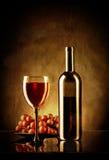 Ακόμα ζωή με το κόκκινο κρασί και τα σταφύλια στο αναδρομικό ύφος Στοκ φωτογραφία με δικαίωμα ελεύθερης χρήσης