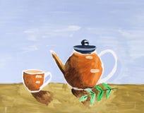 Ακόμα ζωή με το τσάι και Teapot Στοκ φωτογραφίες με δικαίωμα ελεύθερης χρήσης