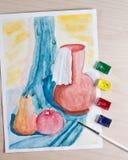 Ακόμα ζωή με το χρώμα watercolor Στοκ Εικόνες