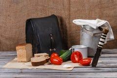 Ακόμα ζωή με το ψωμί και τα λαχανικά Στοκ φωτογραφία με δικαίωμα ελεύθερης χρήσης