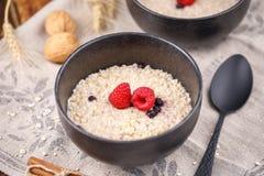 Ακόμα ζωή με oatmeal και τα φρέσκα σμέουρα Χρήσιμο πρόγευμα Στοκ Εικόνα