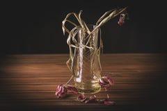 Ακόμα ζωή Στα ξύλινα αντικείμενα υπολογιστών γραφείου των καλλυντικών και των στεγνωμένων λοβών λουλουδιών Μια τουλίπα σε ένα βάζ στοκ εικόνες