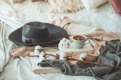 Ακόμα ζωή στο εγχώριο εσωτερικό του καθιστικού Πουλόβερ και φλυτζάνι του τσαγιού με έναν κώνο στα βιβλία διαβάστε Άνετη χειμερινή στοκ φωτογραφίες