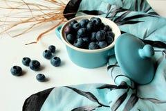 Ακόμα ζωή - τα βακκίνια τακτοποίησαν σε ένα μπλε κύπελλο με το καπάκι και το μπλε και μαύρο μαντίλι Στοκ φωτογραφία με δικαίωμα ελεύθερης χρήσης