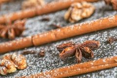 Ακόμα-ζωή της κανέλας, του γλυκάνισου αστεριών και του ξύλου καρυδιάς στις μαγικές διακοπές Χριστουγέννων στο ξύλινο υπόβαθρο Στοκ φωτογραφία με δικαίωμα ελεύθερης χρήσης