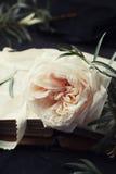 Ακόμα ζωή του εκλεκτής ποιότητας ροδαλού λουλουδιού και των παλαιών βιβλίων στο μαύρο πίνακα όμορφη κάρτα αναδρομική Στοκ Εικόνες
