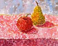 Ακόμα ζωή των αχλαδιών και των μήλων στον πίνακα, τεχνική κηλίδων Στοκ εικόνες με δικαίωμα ελεύθερης χρήσης