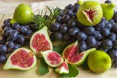 Ακόμα ζωή των φρέσκων ζωηρόχρωμων φρούτων Δέσμη των μαύρων σταφυλιών, gree Στοκ Εικόνες