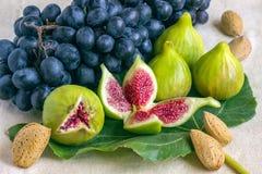 Ακόμα ζωή των φρέσκων ζωηρόχρωμων φρούτων Δέσμη των μαύρων σταφυλιών, gree Στοκ εικόνα με δικαίωμα ελεύθερης χρήσης