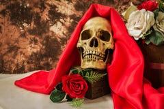 Ακόμα η ζωή με το ανθρώπινο κρανίο με το κόκκινο αυξήθηκε και άσπρος αυξήθηκε Στοκ εικόνες με δικαίωμα ελεύθερης χρήσης