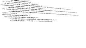 Ακόμα μαύρη κωδικοποίηση HTML στο άσπρο υπόβαθρο απόθεμα βίντεο