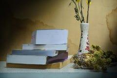 Ακόμα λουλούδι βάζων ζωής με το παλαιό βιβλίο Στοκ Φωτογραφία