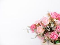 Ακόμα το εσωτερικό ροζ διακοσμήσεων ζωής αυξήθηκε λουλούδι που απομονώθηκε στο μόριο Στοκ Φωτογραφίες