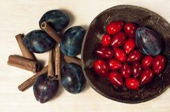 Ακόμα τρόφιμα ζωής με τα δαμάσκηνα, τα κόκκινα μούρα και τα ραβδιά κανέλας στο α Στοκ Εικόνα