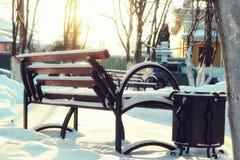 Αλέα πάγκων Winter Park Στοκ εικόνα με δικαίωμα ελεύθερης χρήσης