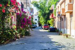 Αλέα της Regina, χαρακτηριστική γειτονιά της αποικιακής ζώνης Santo Domingo στοκ φωτογραφία
