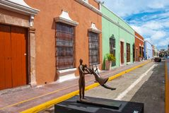 Αλέα του ιστορικού κέντρου Campeche Μεξικό στοκ εικόνα με δικαίωμα ελεύθερης χρήσης