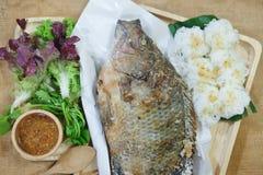Αλατισμένα Tilapia σχαρών ψάρια με το λαχανικό στοκ εικόνες