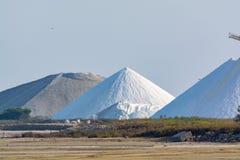 Αλατισμένες εργασίες, βιομηχανικές εγκαταστάσεις με τους άσπρους σωρούς της θάλασσας Camagrue sa Στοκ Εικόνα
