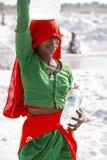 Αλατισμένες εργασίες, Sambhar αλατισμένη λίμνη, Rajasthan, Ινδία Στοκ Εικόνα