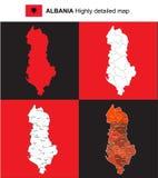 Αλβανία - διανυσματικός ιδιαίτερα λεπτομερής πολιτικός χάρτης με τις περιοχές, υπέρ Στοκ Φωτογραφία