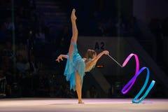 Αλεξάνδρα Soldatova, πολλαπλάσιος ρυθμικός πρωτοπόρος γυμναστικής στοκ φωτογραφίες με δικαίωμα ελεύθερης χρήσης