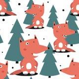 Αλεπούδες και fir-trees, άνευ ραφής σχέδιο απεικόνιση αποθεμάτων