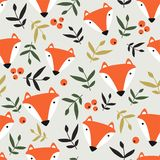 Αλεπούδες, φύλλα και μούρα, olorful άνευ ραφής σχέδιο Ñ  διανυσματική απεικόνιση