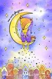 Αλεπού στην αγάπη φεγγαριών στο φεγγάρι και το πίσω watercolor καρτών τυπωμένων υλών στοκ φωτογραφίες