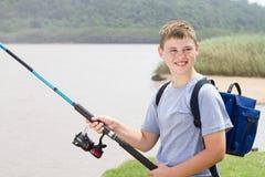 αλιεία αγοριών εφηβική Στοκ εικόνες με δικαίωμα ελεύθερης χρήσης
