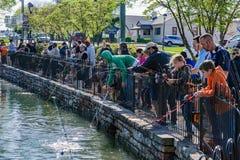 Αλιεία πεστροφών παιδιών στοκ εικόνες με δικαίωμα ελεύθερης χρήσης