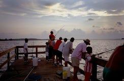 αλιεία της αποβάθρας νησ& στοκ εικόνα