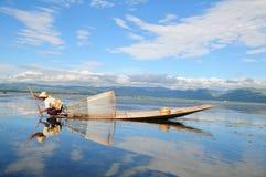 αλιεία της Βιρμανίας Στοκ εικόνες με δικαίωμα ελεύθερης χρήσης