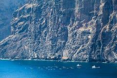 Αλιευτικά σκάφη και δίχτυα κοντά στους απότομους βράχους Los Gigantes, Tenerife, Ισπανία arial όψη Στοκ Φωτογραφία