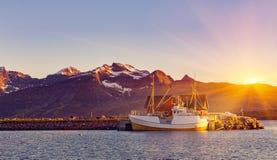 Αλιευτικά σκάφη στο λιμάνι στον ήλιο μεσάνυχτων στη βόρεια Νορβηγία, Lofo Στοκ εικόνα με δικαίωμα ελεύθερης χρήσης