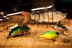 Αλιευτικό εργαλείο, τεχνητό δόλωμα σε ένα αρπακτικό ζώο σε ένα ξύλινο υπόβαθρο, τοπ wobblers άποψης και διάφορες σκοινιά και λαβί Στοκ εικόνα με δικαίωμα ελεύθερης χρήσης